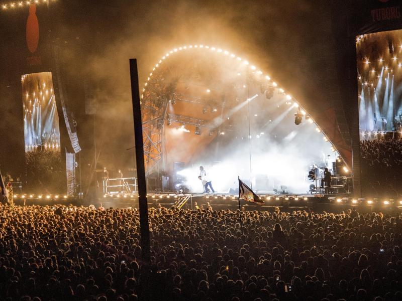 Menschenmassen beim Roskilde Festival 2018. Foto: Jens Noergaard Larsen/Ritzau Scanpix/AP/dpa (© Jens Noergaard Larsen)