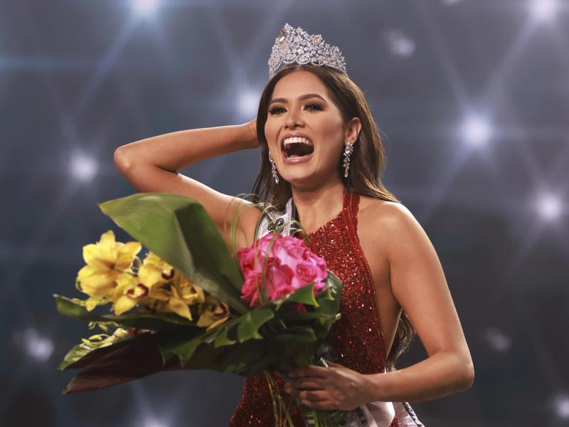 Andrea Meza nach ihrer Krönung zur Miss Universe 2021. Foto: Tracy Nguyen/Miss Universe Organization/AP/dpa (© Tracy Nguyen)
