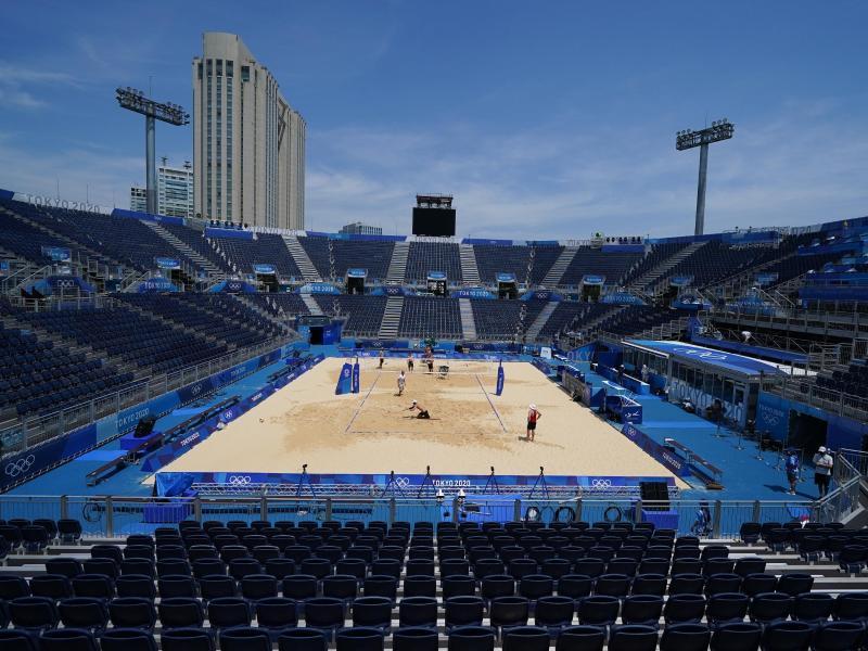 Das Beachvolleyball-Stadion in Tokio. Foto: Mike Egerton/PA Wire/dpa (© Mike Egerton)
