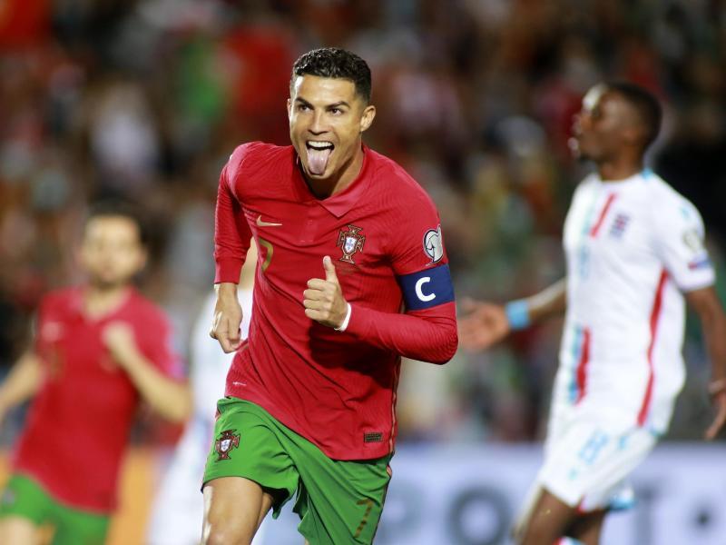 Portugals Cristiano Ronaldo jubelt über sein Tor zum 2:0. Foto: Joao Matos/AP/dpa (© Joao Matos)